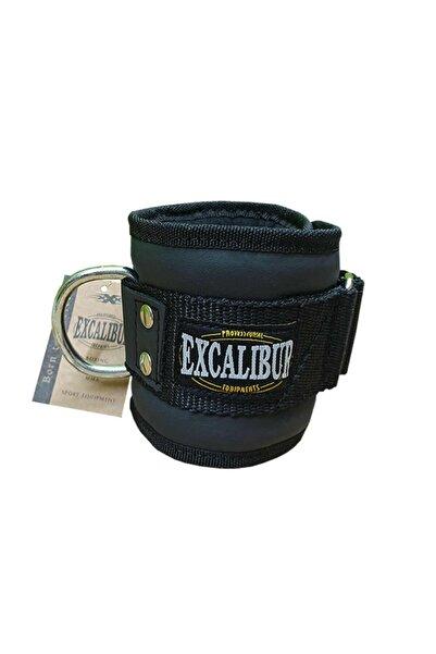 Excalibur Deri Ayak Bilek Kayışı - Fitness Ağırlık Çekiş Aparatı Siyah