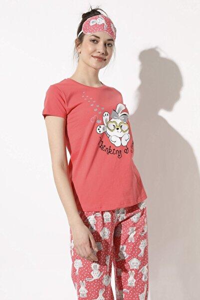 Arma Life Sweet Rabbit Baskılı Pijama Takımı - Mercan