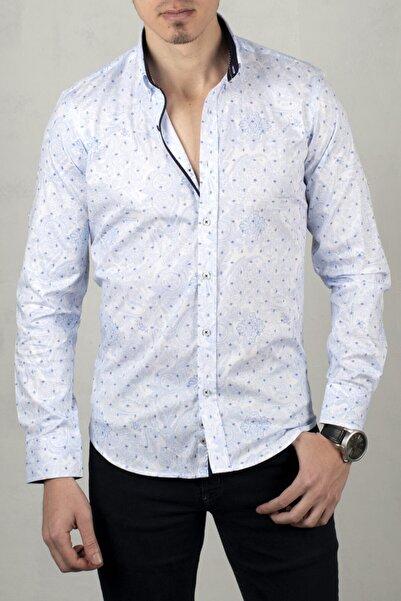 DeepSEA Beyaz-mavi Uzun Kol Gömlek 2005019