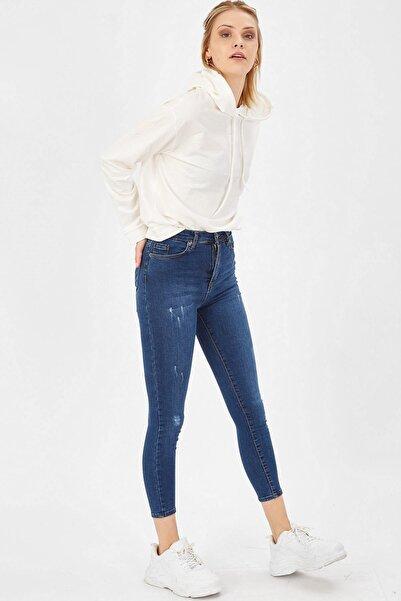 Taşlanmış Lazerli Yüksek Bel Likralı Pantolon - Taşlanmış Mavi