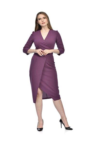 İroni Kadın Mor Yırtmaçlı Kruvaze Elbise