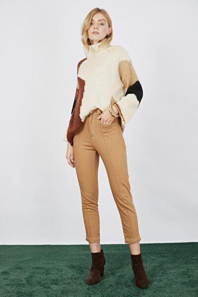 Mispacoz Kadın Camel Gabardin Yüksek Bel Pantolon