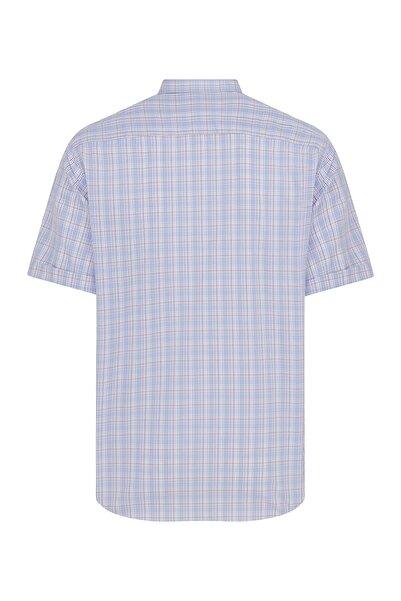 Hatemoğlu Erkek Mavi Kısa Kol Kareli Klasik Gömlek