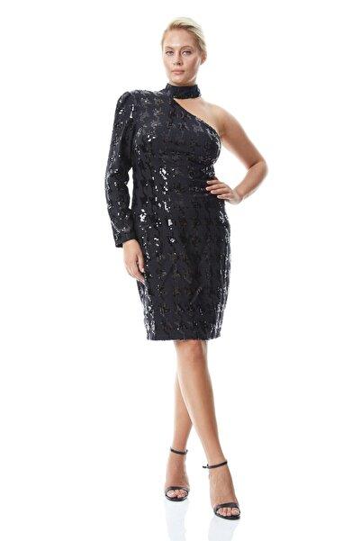 Keikei Kadın Siyah Büyük Beden Pul Payet Tek Kol Kısa Abiye Elbise