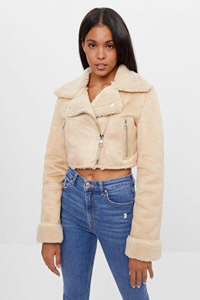 Bershka Kadın Krem Çift Yüzlü Crop Fit Ceket