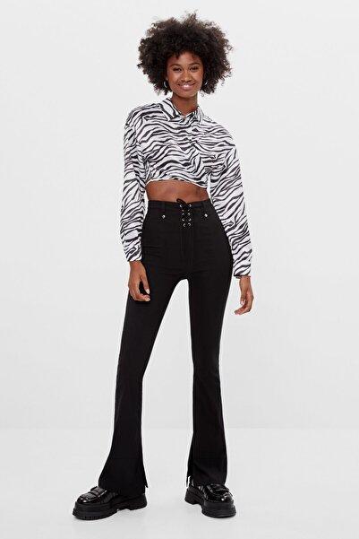 Bershka Kadın Siyah Fiyonklu Ispanyol Paça Pantolon