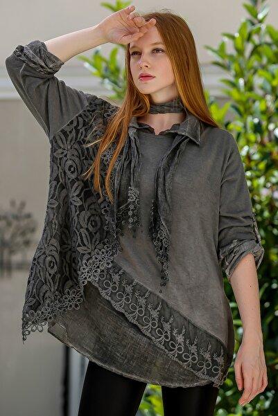Chiccy Kadın Füme İtalyan Gül Desen Dantelli Triko Yıkamalı Fularlı Bluz Üçlü Set