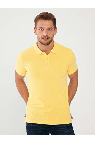 MCL Erkek Sarı Polo Yaka Pamuklu Slim Fit Büyük Beden T-shirt