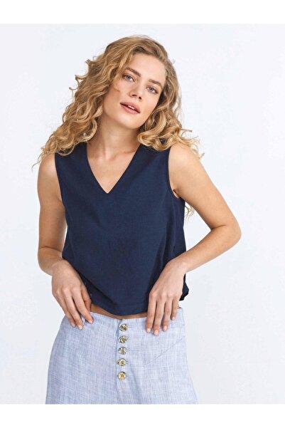 Xint Kadın Lacivert V Yaka Bluz