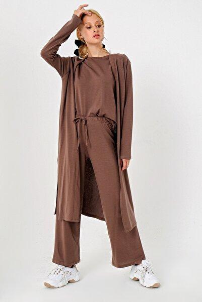 Trend Alaçatı Stili Kadın Çikolata 3 Lü Hırkalı Alt Üst Takım ALC-X4710