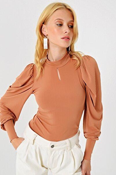 Trend Alaçatı Stili Kadın Pudra Damla Yakalı Bluz ALC-X3063-MDS
