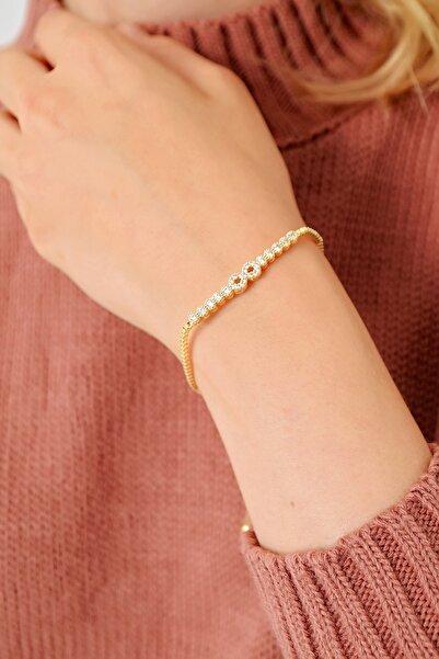 Trend Alaçatı Stili Kadın Gold Asansörlü Gold Taşlı Bileklik ALC-A1972