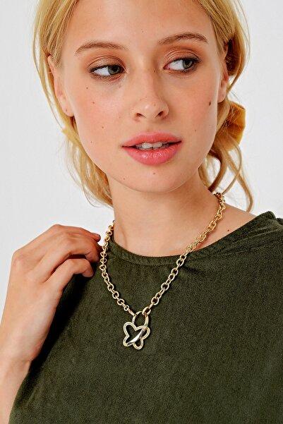 Trend Alaçatı Stili Kadın Gold Kelebek Figürlü Gold Kolye ALC-A2002