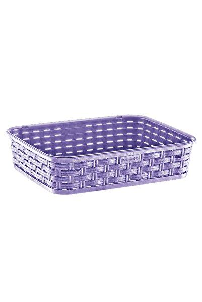moniev Plastik Dekoratif Sepet Lila, Düzenleyici Rattan Basket Sepet Orta