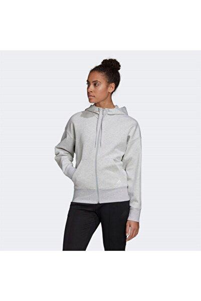 adidas Kadın Gri Sweatshirt W 3s Dk Fz S Hd