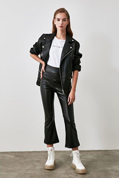 TRENDYOLMİLLA Siyah Deri Görünümlü Örme Pantolon TWOAW21PL0047