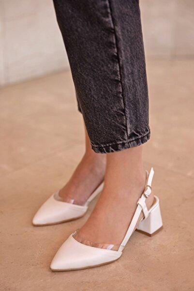 STRASWANS Roy Bayan Deri Topuklu Ayakkabı Beyaz