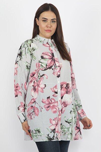 Şans Kadın Renkli Bel Detaylı Çiçek Desenli Gömlek 65N18115