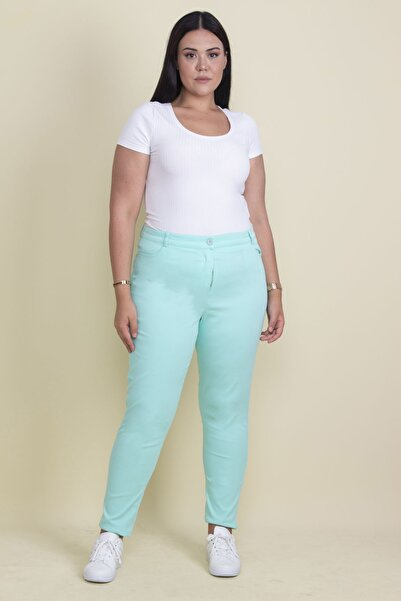 Şans Kadın Mint Pamuklu Kumaş Likralı Pantolon 65N17898