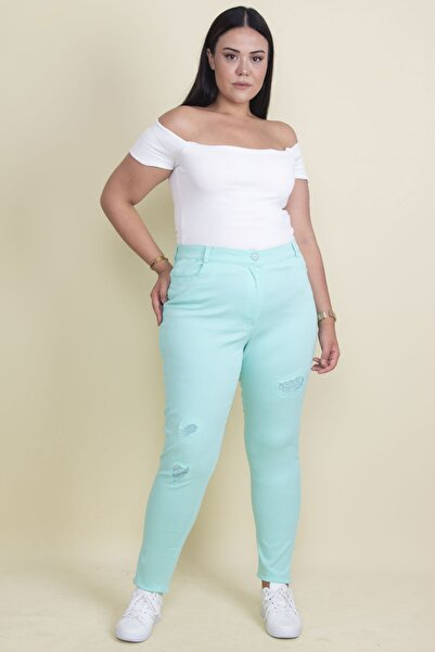 Şans Kadın Mint Taş Ve Yırtık Detaylı Likralı Pantolon 65N17889