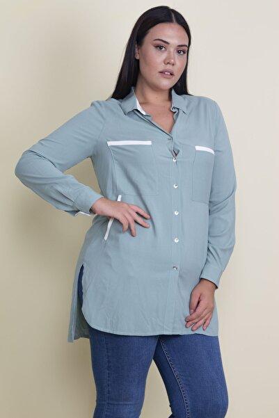 Şans Kadın Yeşil Biye Detaylı Ön Düğmeli Bluz 65N17858