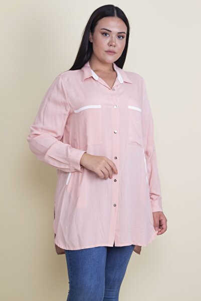 Şans Kadın Somon Biye Detaylı Ön Düğmeli Bluz 65N17858