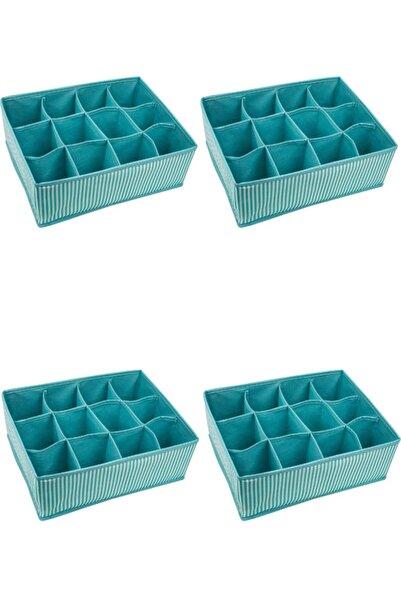 ALAS 4 Adet - 12 Bölmeli Çok Amaçlı Organizer - Çekmece Organizeri 31x25x12cm - Mavi