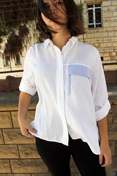Patiska Patiskha Life 3482 Cep Detaylı Kadın Gömlek Beyaz
