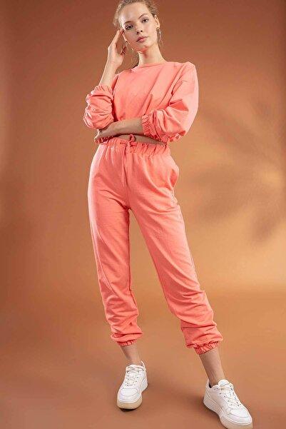 Y-London Kadın Somon Basic Uzun Kollu Crop Eşofman Takımı Y20W134-2048