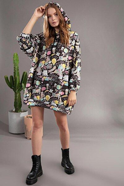 Y-London Kadın Siyah Grafik Desenli Kapşonlu Oversize Elbise Sweatshirt Y20W110-4125