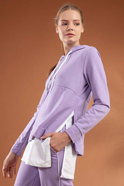 Y-London Kadın Lila Etek Ucu Tişört Detaylı Kapşonlu 2'li Eşofman Takımı Y20W126-10708
