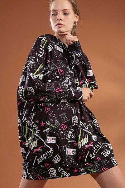 Y-London Kadın Siyah Grafik Desenli Kapşonlu Oversize Elbise Sweatshirt Y20W110-4125-7
