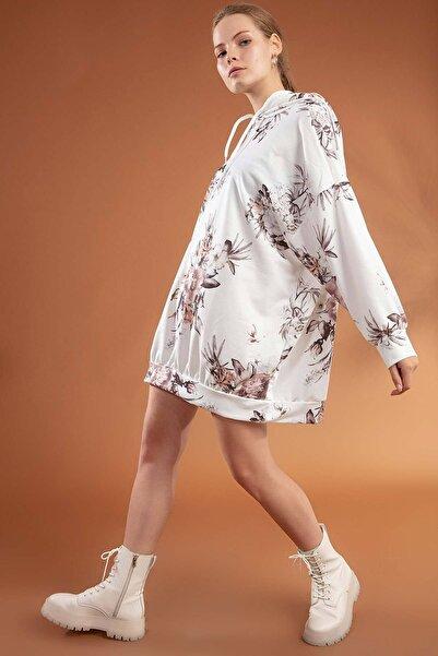 Y-London Kadın Beyaz Çiçek Baskılı Oversize Elbise Sweatshirt Y20W110-4125-5