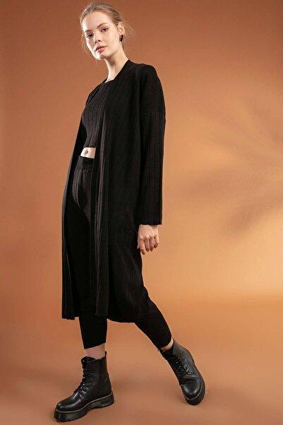 Y-London Kadın Siyah Basic Crop 3'lü Triko Takım Y20W106-0504