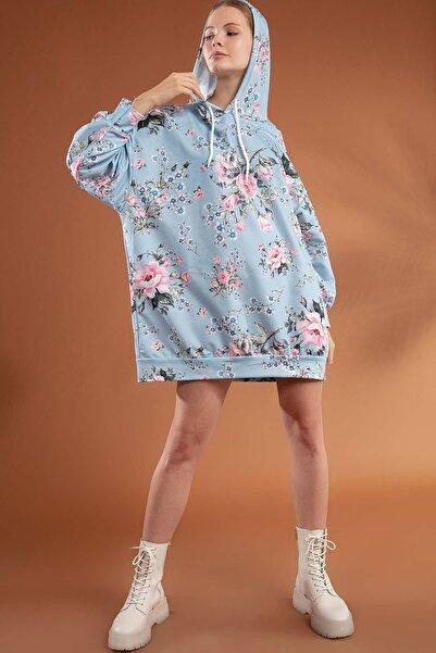 Y-London Kadın Mavi Çiçekli Oversize Elbise Sweatshirt Y20W110-4125-6
