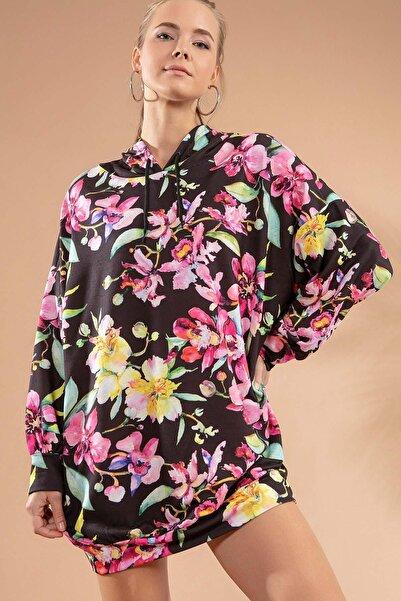 Y-London Kadın Siyah Çiçekli Örme Kapşonlu Sweatshirt Elbise Y20W110-4125-15