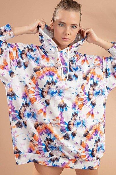 Y-London Kadın Beyaz Lila Batik Desenli Kapşonlu Örme Sweatshirt Elbise Y20W110-4125-13