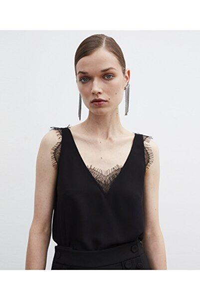 İpekyol Kadın Siyah Dantel Şeritli Bluz