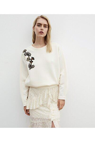 İpekyol Kadın Ekru Boncuk Nakışlı Sweatshirt