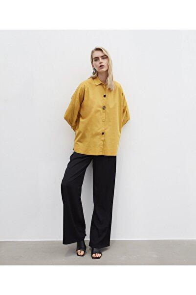 İpekyol Kadın Sarı Düğme Aksesuarlı Gömlek