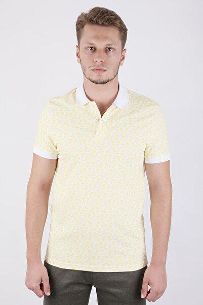 Canelia Erkek  Sarı Baskılı Likralı Pike Slimfit T-shirt