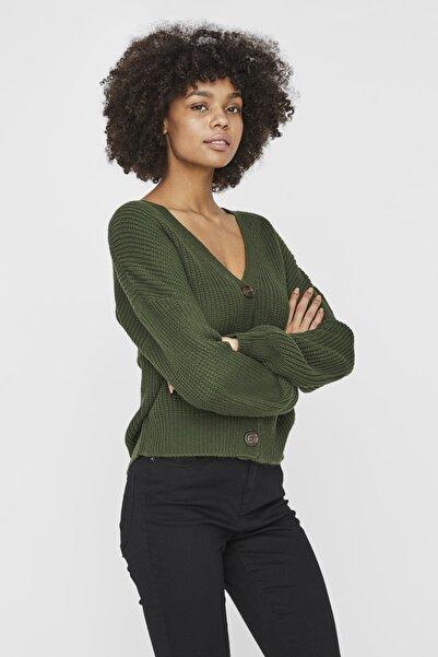 Vero Moda Kadın Siyah Uzun Kollu V-Yaka Hırka 10230008 VMLEA