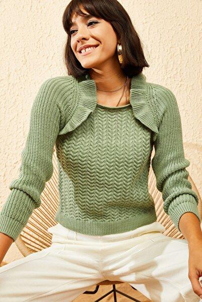 Bianco Lucci Kadın Çağla Yeşili Bebek Yaka İşlemeli Kurdeleli Triko Kazak 10111050