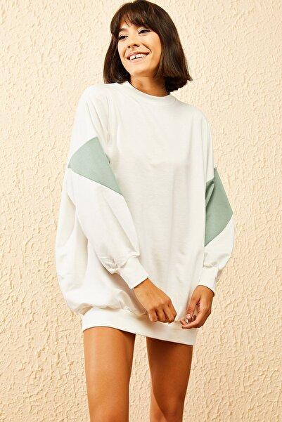 Bianco Lucci Kadın Ekru Kolları Desenli Sweatshirt 10121028