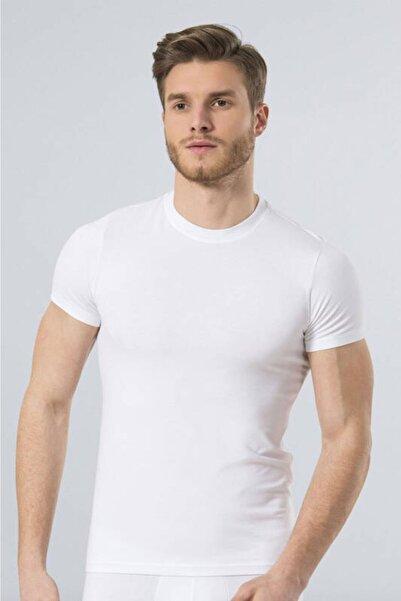 TÜREN Erkek Beyaz Sıfır Yaka Likralı Tişört 164