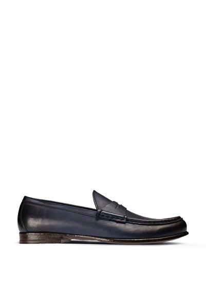 Deery Erkek Mavi Hakiki Deri Mokasen Ayakkabı