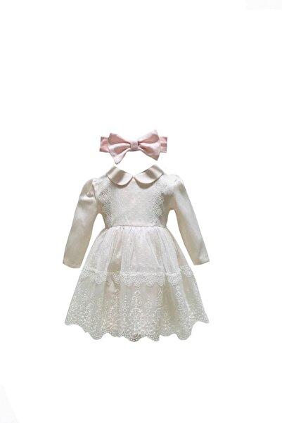 Mymio Kız Bebek Pembe Beyaz Dantelli Uzun Kollu Elbise