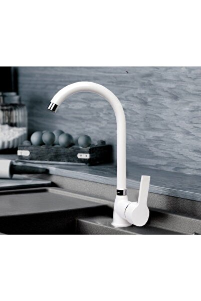 Sardıcı Beyaz Kaplama Çizilmez Mutfak Bataryası Sıcak Soğuk Çift Su Girişli