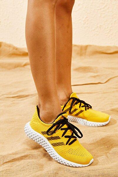 Bianco Lucci Kadın Sarı Rahat Triko Örme Ayakkabı AYKB001