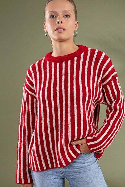 Y-London Kadın Kırmızı Çizgili Desen Triko Kazak Y19W109-80028